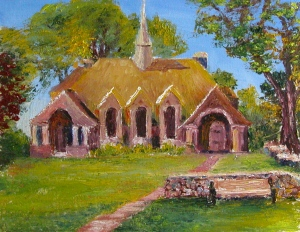Parish House on the Village Green - oil on board